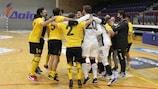 AEK celebrate beating Araz on penalties