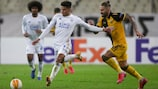 Leicester's James Justin and AEK's Marko Livaja in the reverse fixture