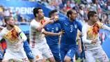 Itália e Espanha defrontaram-se pela última vez no UEFA EURO 2016