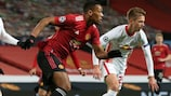 Manchester United's Anthony Martial attempts to find space against Leipzig