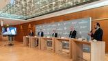Conférence de presse à la Leipziger Messe, qui abritera le Centre international de diffusion