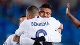 Karim Benzema and Casemiro celebrate as Real Madrid seal their progress