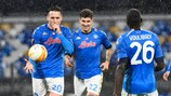 Piotr Zielinski (L) celebrates with his teammates after scoring the 1-0 goal     during the UEFA Europa League group F soccer match between SSC Napoli and  Real Sociedad