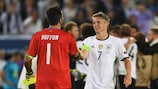 Italy's Gianluigi Buffon and Germany's Bastian Schweinsteiger meet at EURO 2016