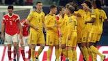 Belgium celebrate against Russia in St Petersburg in 2019