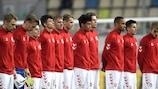 Сборная Дании перед одним из отборочных матчей