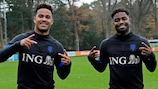 Justin Kluivert and Che Nunnely in training in November 2020