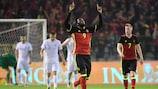 Belgium forward Romelu Lukaku celebrates after scoring against Finland in 2016