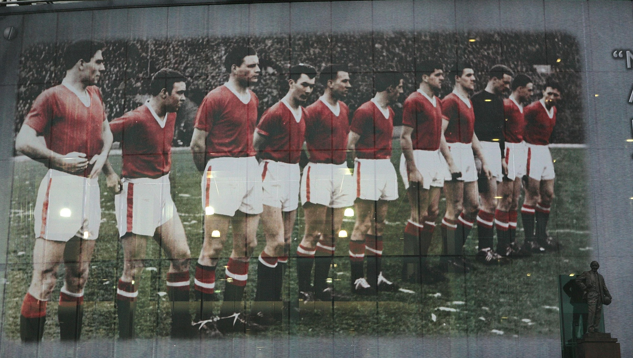 Anniversary of the air disaster Manchester_united_munich_1958_-_tribute_mural_-old_trafford