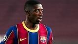 Ousmane Dembélé in UEFA Champions League action for Barcelona