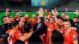 North Macedonia celebrate qualifying for UEFA EURO 2020