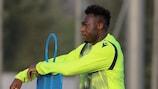 Lazio's Felipe Caicedo looks on in training on Monday