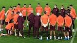 Zidane addresses his squad at training in Bergamo on Tuesday evening