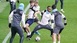 Raheem Sterling tries his luck in training on Tuesday