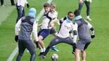 Um momento animado de um treino do Manchester City
