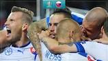 Slovakia celebrate Marek Hamšík's goal against Russia at EURO 2016