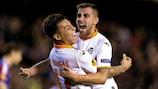 Paco Alcácer celebrates with Valencia team-mate Eduardo Vargas during their sensational 2014 comeback