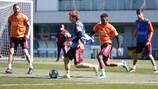 O Real Madrid cumpre mais um treino antes da recepção à Atalanta