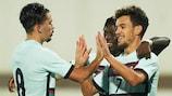 Portugal celebrate a qualifying goal
