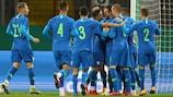 Slovenia's U21s celebrate a friendly goal