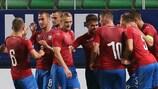 The Czech U21s celebrate a goal