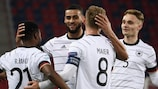 Germany celebrate scoring against Hungary on Matchday 1