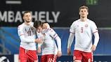Denmark celebrate their winning goal against France on Matchday 1
