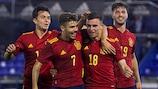 España celebra un gol en la fase  de clasificación