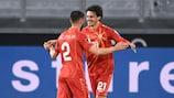 Macedonia del Norte celebra uno de sus goles en la histórica victoria ante Alemania