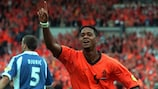 Patrick Kluivert celebrates a goal in the Netherlands' 6-1 win against Yugoslavia