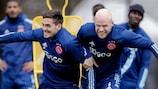 Dušan Tadić and Davy Klassen in training on Wednesday