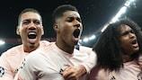 Manchester United celebrate their historic comeback in Paris