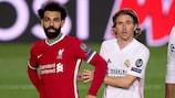 Mohamed Salah and Luka Modrić during the first leg