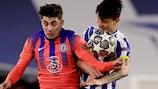Chelsea's Kai Havertz and Porto's Matheus Uribe during the first leg