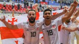 Roninho and Bynho celebrate Georgia's 3-2 win against France