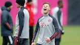 Joshua Kimmich in training with Bayern on Monday morning