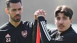 Arsenal's Pablo Marí and Héctor Bellerín in training on Wednesday