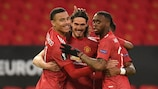 Il Manchester United esulta dopo il primo gol