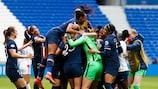 Il Paris festeggia la qualificazione ai danni del Lione in Women's Champions League, il 18 aprile 2021 a Lione, in Francia. (Photo by Romain Biard/Icon Sport via Getty Images)