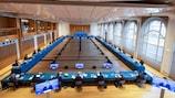 Imagen de la reunión del Comité Ejecutivo de la UEFA en Montreux (Suiza) el 19 de abril de 2021