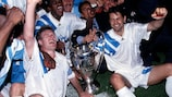 Marseille celebrate with the trophy after the first UEFA Champions League final