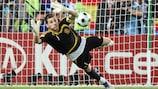 Iker Casillas in action in the UEFA EURO 2008 quarter-finals