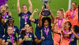 Lyon lift the UEFA Women's Champions League trophy in 2020