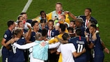 Paris celebrate their 2019/20 semi-final success over Leipzig
