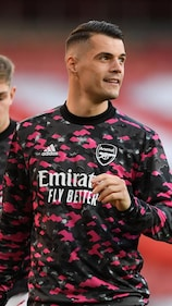 LONDON, ENGLAND - MAY 06: Granit Xhaka of Arsenal before the UEFA Europa League Semi-final Second Leg match between Arsenal and Villareal CF at Emirates Stadium on May 06, 2021 in London, England. Sporting stadiums around Europe remain under strict restrictions due to the Coronavirus Pandemic as Government social distancing laws prohibit fans inside venues resulting in games being played behind closed doors. (Photo by David Price/Arsenal FC via Getty Images)