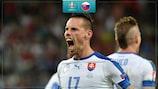 Марек Гамшик празднует победный гол в ворота России на ЕВРО-2016
