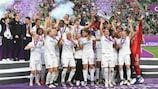Lyon lift the trophy in 2019 after beating Barcelona
