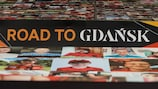 UEFA Europa League Road To Gdansk branding at Manchester United's Old Trafford.