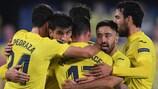 Gerard Moreno at the heart of a Villarreal group hug