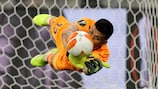 Villarreal's Gerónimo Rulli saves the 22nd spot kick of the final shoot-out